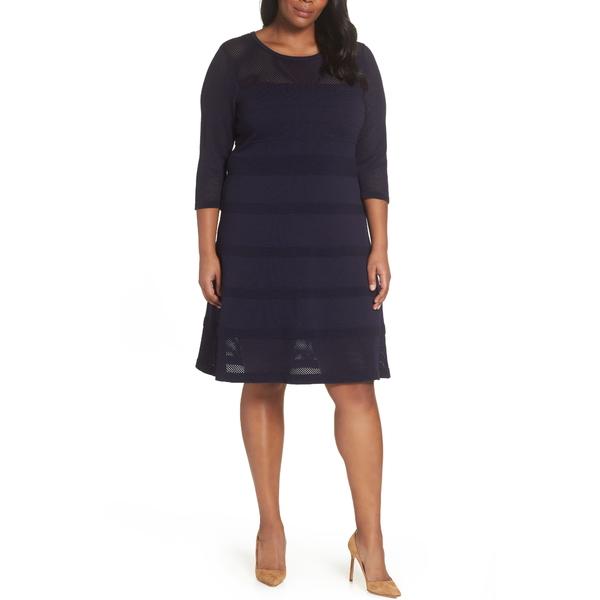 ヴィンスカムート レディース ワンピース トップス Mixed Stitch Pointelle Fit & Flare Dress Navy
