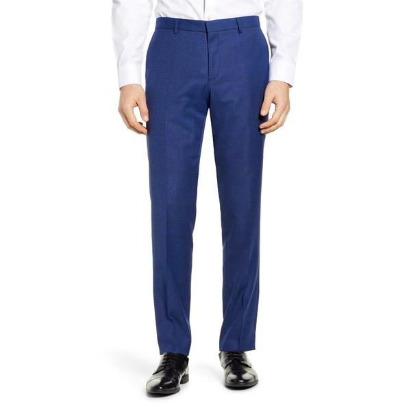 ボス メンズ カジュアルパンツ ボトムス Novan Flat Front Windowpane Wool Dress Pants Dark Blue