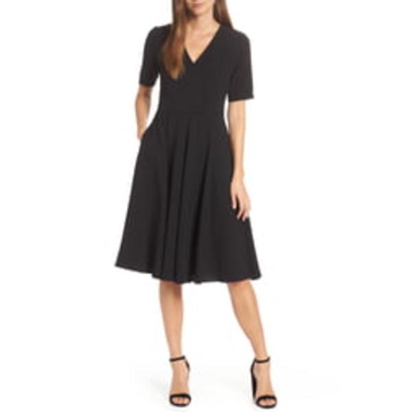 ギャルミーツグラムコレクション レディース ワンピース トップス Edith City Crepe Fit & Flare Midi Dress Black