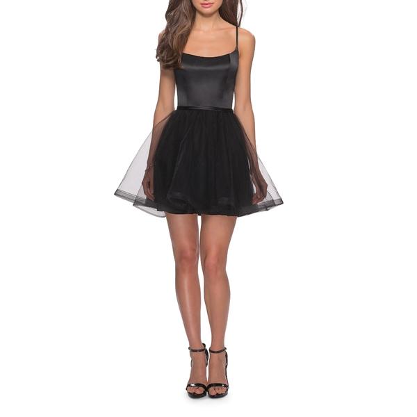 ラフェム レディース ワンピース トップス Satin & Tulle Fit & Flare Dress Black