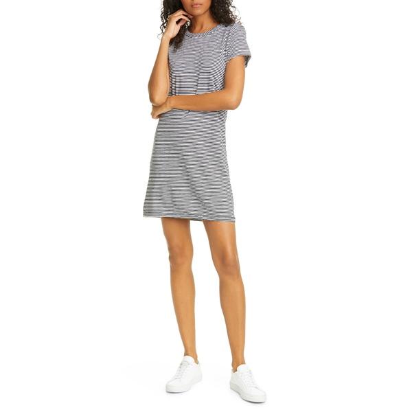ラグアンドボーン レディース ワンピース トップス Stripe T-Shirt Dress Blackwht