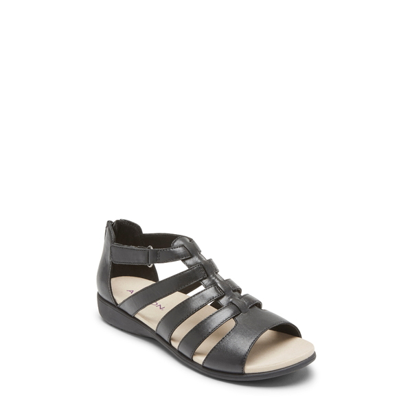 アラヴォン レディース サンダル シューズ Abbey Gladiator Sandal Black Leather