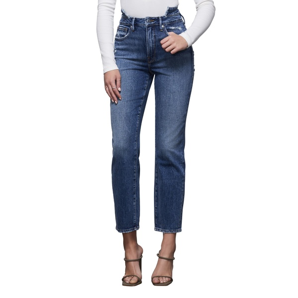グッドアメリカン レディース デニムパンツ ボトムス Double Waistband High Waist Ankle Straight Leg Jeans Blue401
