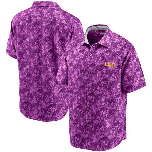 トッミーバハマ メンズ シャツ トップス LSU Tigers Tommy Bahama Sport Jungle Shade Camp ButtonUp Shirt Purple