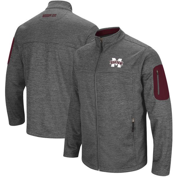 コロシアム メンズ ジャケット&ブルゾン アウター Mississippi State Bulldogs Colosseum Anchor FullZip Jacket Charcoal