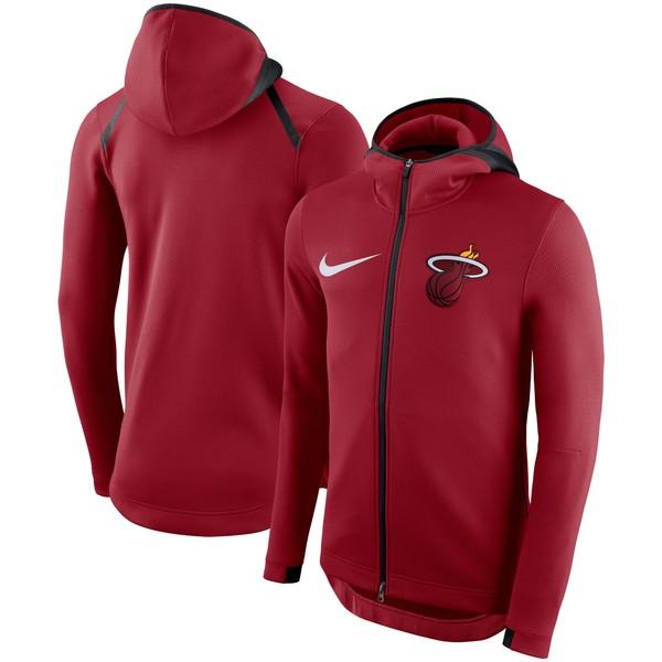 ナイキ メンズ ジャケット&ブルゾン アウター Miami Heat Nike Showtime Therma Flex Performance FullZip Hoodie Red