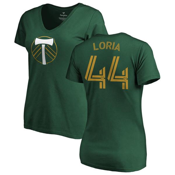 ファナティクス レディース Tシャツ トップス Portland Timbers Fanatics Branded Women's Personalized Authentic Name & Number VNeck TShirt Green