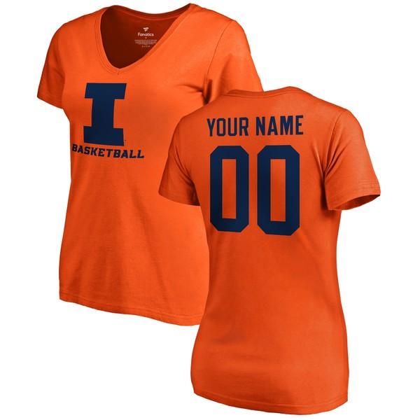 ファナティクス レディース Tシャツ トップス Illinois Fighting Illini Fanatics Branded Women's Any Name & Number Personalized Basketball VNeck TShirt Orange