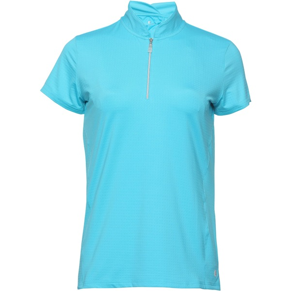スポットハーレー レディース シャツ トップス Bette & Court Women's Petal -Zip Mock Neck Golf Polo Pacific