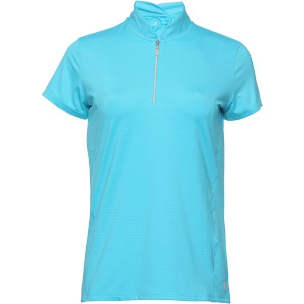 スポットハーレー レディース シャツ トップス Bette & Court Women's Petal -Zip Mock Neck Golf Polo Clover