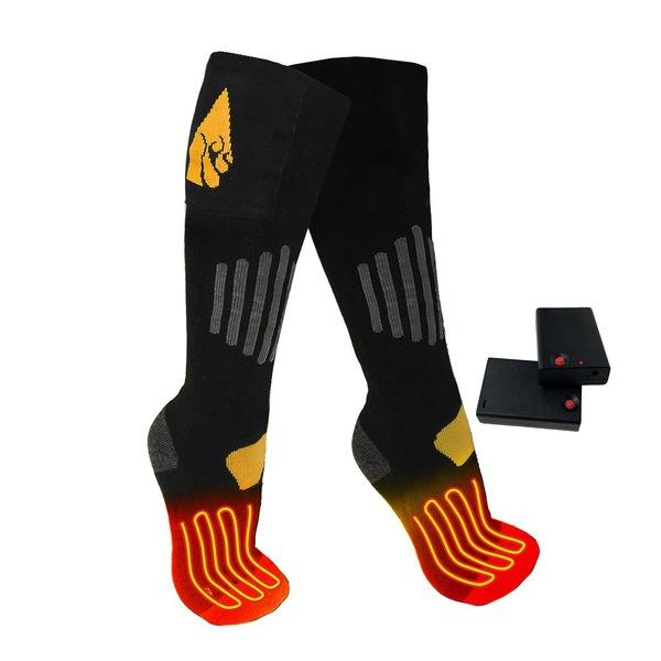 アクションヒート メンズ 靴下 アンダーウェア ActionHeat Cotton AA Battery Heated Socks Black:asty