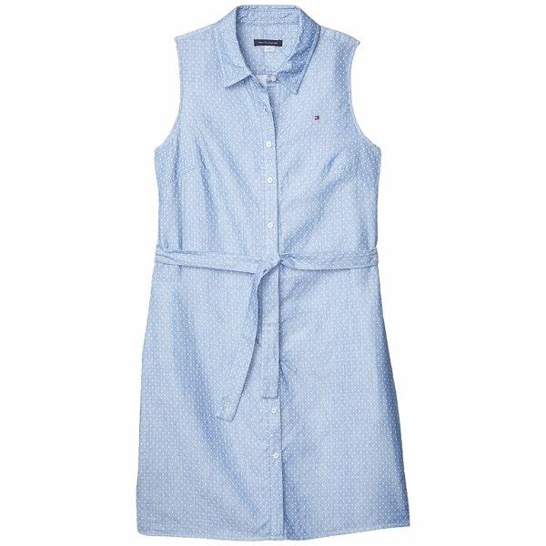 トミー ヒルフィガー レディース ワンピース トップス Small Dot Cotton Shirtdress Dutch Blue/Ivory
