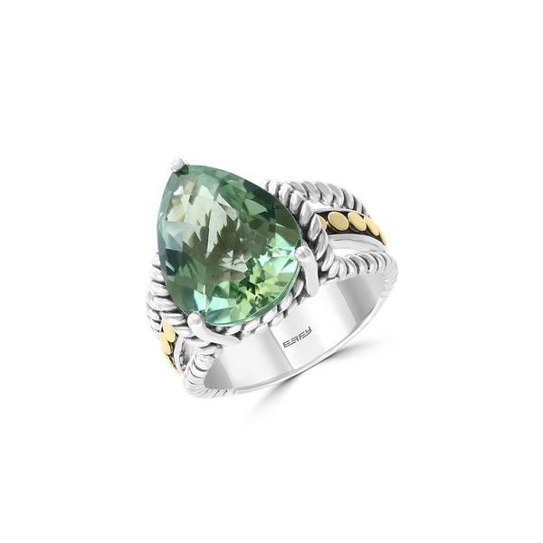 エフィー レディース リング アクセサリー Sterling Silver, 18K Yellow Gold & Green Amethyst Ring Green