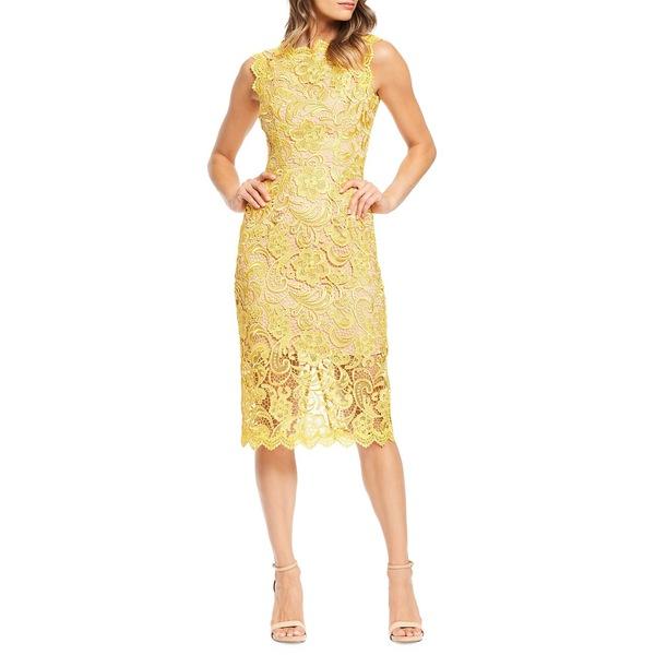 ドレスザポプレーション レディース ワンピース トップス Claudette Crochet Lace Midi Sheath Dress Canary