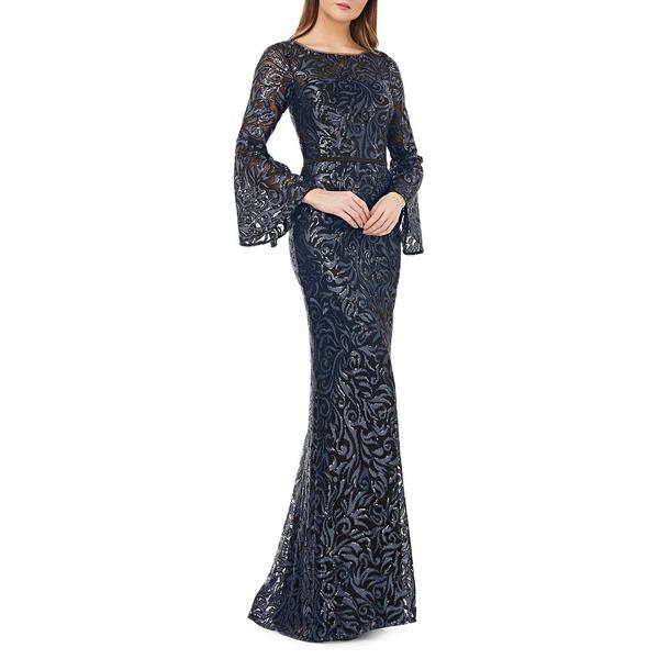 カルメンマークバルボ レディース ワンピース トップス Sequin Embellished Mermaid Gown Midnight