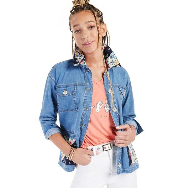 スタイルアンドコー 予約 レディース アウター ジャケット ブルゾン Blossom 全商品無料サイズ交換 Denim for Jacket Printed-Patch Macy's Petite Created 期間限定特価品