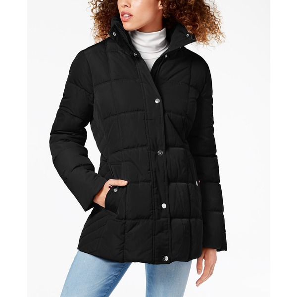 捧呈 トミー ヒルフィガー レディース アウター コート Black 全商品無料サイズ交換 感謝価格 Puffer Macy's for Coat Faux-Fur-Trim Created Hooded