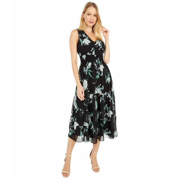テイラー レディース ワンピース トップス Floral Print Chiffon Midi Dress with Smocking Waist and Ruffle Skirt Black/Cactus Green