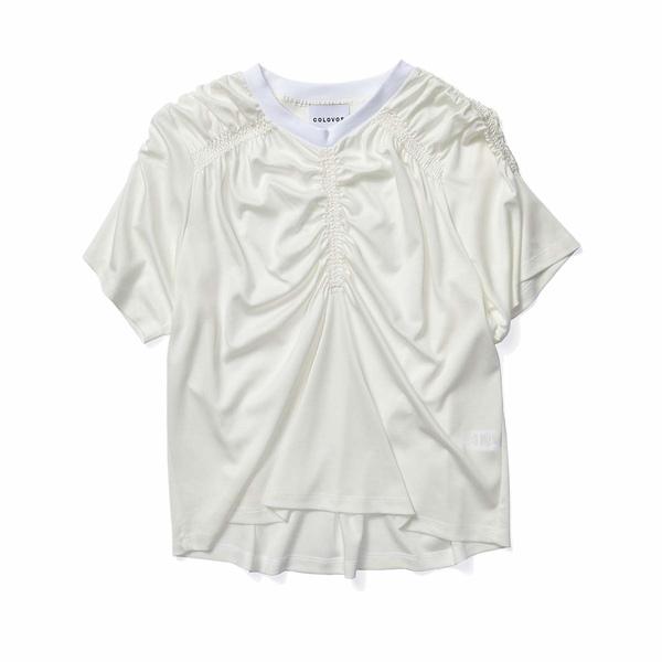 コロボス レディース シャツ トップス Gathered T-Shirt White
