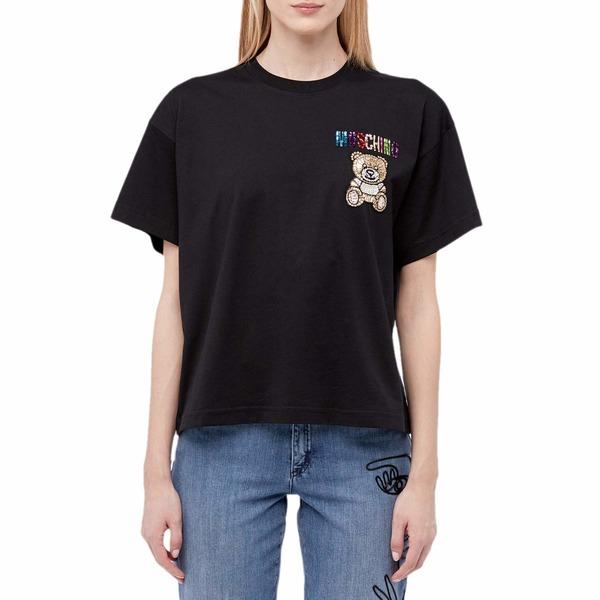 【超目玉】 モスキーノ レディース シャツ トップス Embellished Bear T-Shirt Black, NORTH COWBOY 846a8e04