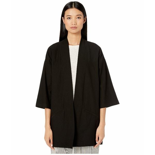 エイリーンフィッシャー レディース シャツ トップス Washable Stretch Crepe Kimono Jacket Black
