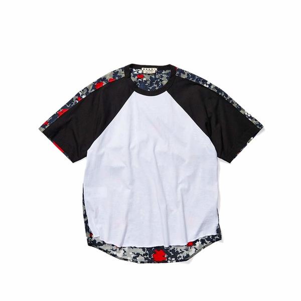マルニ メンズ シャツ トップス Mixed Media Print T-Shirt White/Black/Floating Buds Print