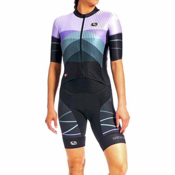 ジョルダーノ レディース フィットネス スポーツ FR-C Pro TRI Short-Sleeve Doppio Suit - Women's Purple/Black