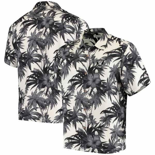 トッミーバハマ メンズ シャツ トップス Las Vegas Raiders Tommy Bahama Sport Harbor Island Hibiscus Camp ButtonDown Shirt Black