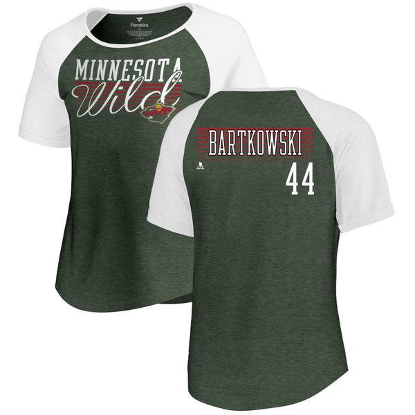 ファナティクス レディース Tシャツ トップス Minnesota Wild Fanatics Branded Women's Personalized Assist Triblend TShirt Green