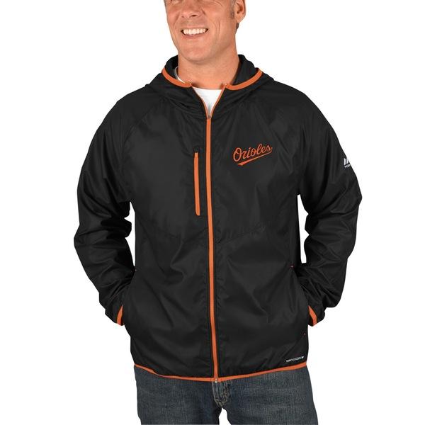 マジェスティック メンズ ジャケット&ブルゾン アウター Baltimore Orioles Majestic Strong Will Dry Base FullZip Hooded Jacket Black
