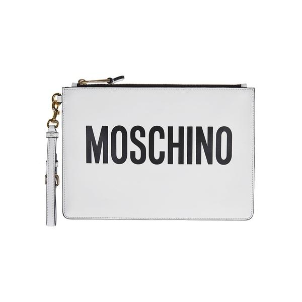モスキーノ レディース クラッチバッグ バッグ Moschino Logo Clutch White