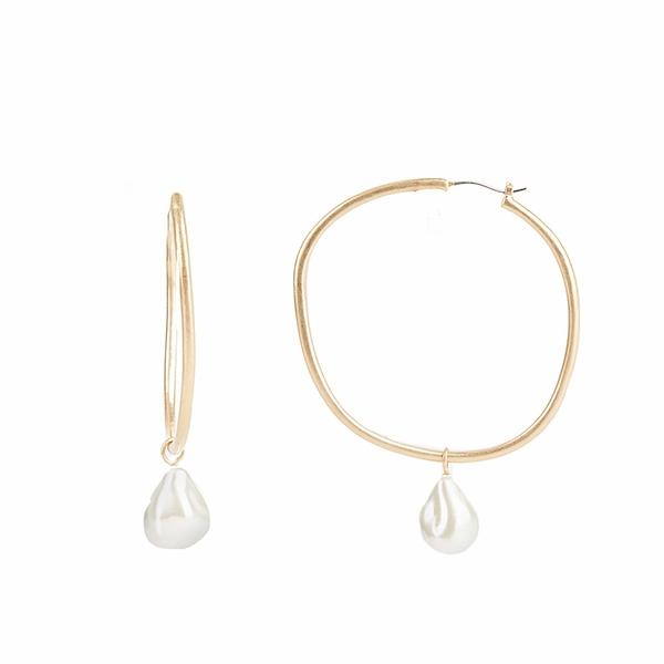 レベッカミンコフ レディース ピアス&イヤリング アクセサリー Organic Metal and Pearl Hoop Earrings Gold