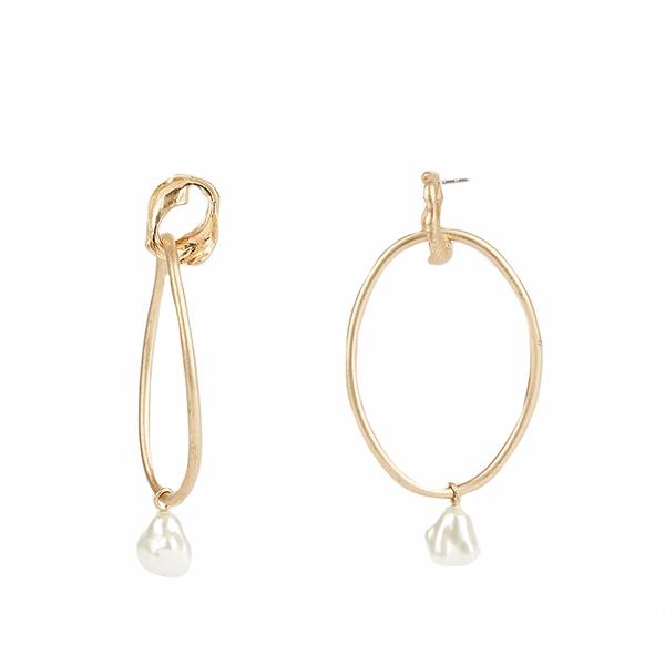 レベッカミンコフ レディース ピアス&イヤリング アクセサリー Organic Metal and Pearl Front Facing Hoops Earrings Gold