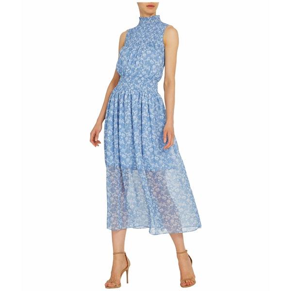 MLモニックルイラー レディース ワンピース トップス Sleeveless Floral Printed Midi Dress w/ Smocking White/Cornflower Combo