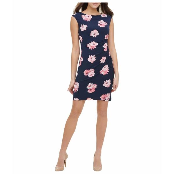 トミー ヒルフィガー レディース ワンピース トップス Lily Cluster Jersey Side Ruched Dress Sky Captain/Bloom