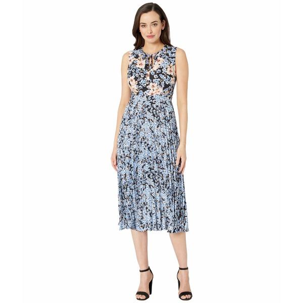 ドナモーガン レディース ワンピース トップス Sleeveless Georgette Pleated Skirt Dress with Tie-Neck Periwinkle/Coral