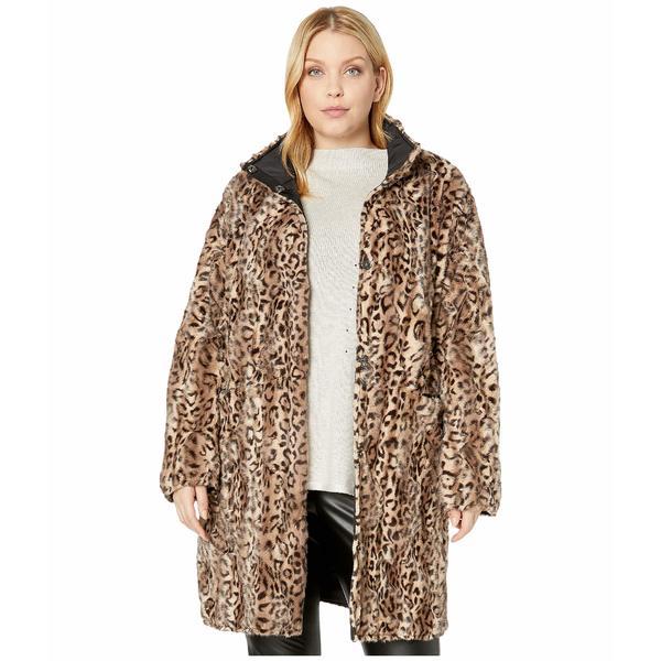 ヴィアスピガ レディース コート アウター Plus Size Faux Fur Reversible Coat Leopard