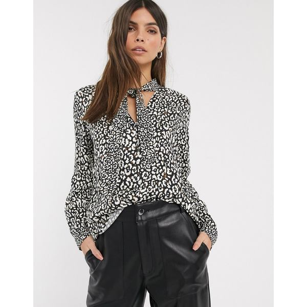 エスプリ レディース シャツ トップス Esprit animal print pussy bow blouse in black and white Black