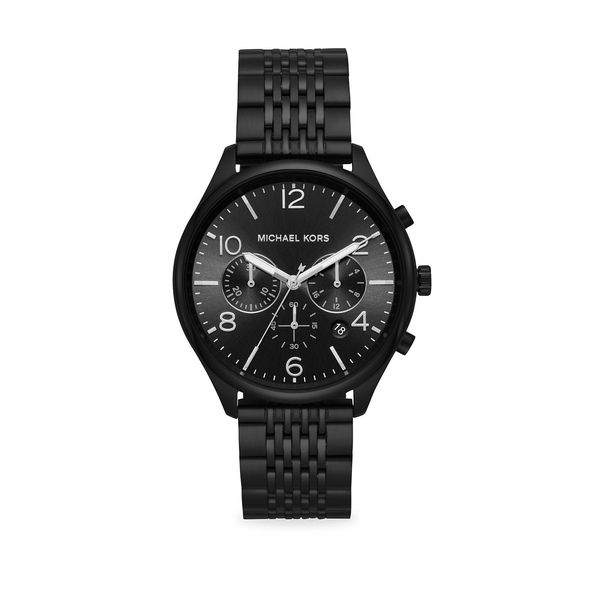 マイケルコース メンズ 腕時計 アクセサリー Merrick Chronograph Black IP Stainless Steel Watch Black