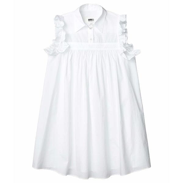 マルタンマルジェラ レディース ワンピース トップス Ruffle Sleeve Detail Dress White Mix Jacquard