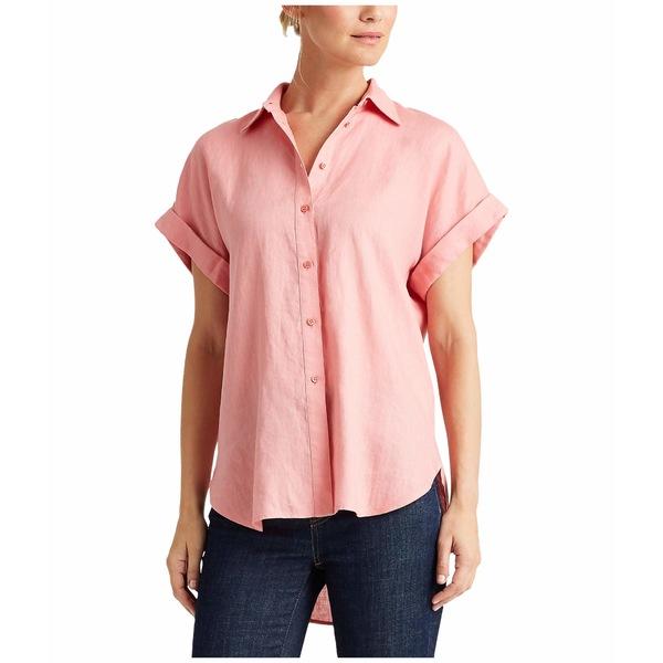 ラルフローレン レディース シャツ トップス Linen Dolman-Sleeve Shirt Pink Quartz