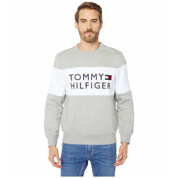 トミーヒルフィガー メンズ パーカー・スウェットシャツ アウター Sweatshirt with Velcro Brand Closure at Shoulders Grey Heather