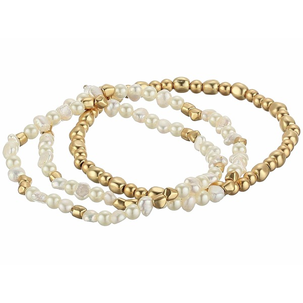 ラッキーブランド レディース ブレスレット・バングル・アンクレット アクセサリー Pearl and Bead Bracelet Set Gold