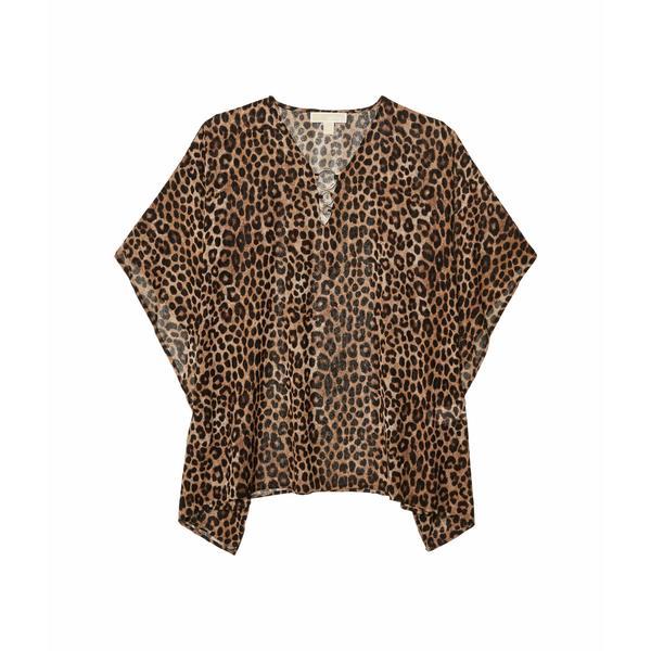 マイケルコース レディース シャツ トップス Mega Cheetah Flutter Top Dark Camel