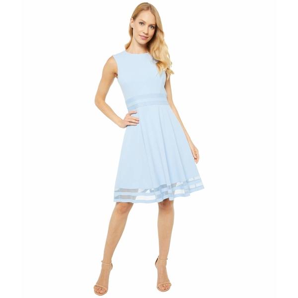 カルバンクライン レディース ワンピース トップス A-Line Dress with Illusion Detail At Waist and Hem Serene