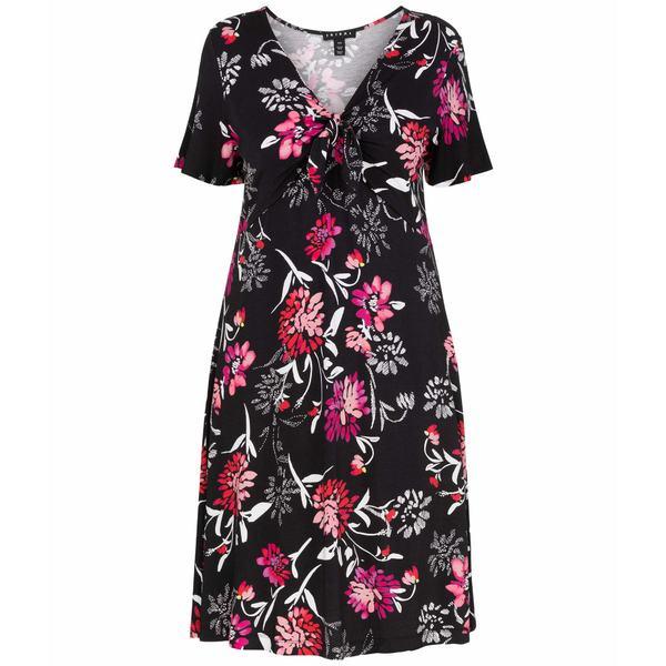 トリバル レディース ワンピース トップス Ruffle Sleeve Dress w/ Tie Front Hot Pink