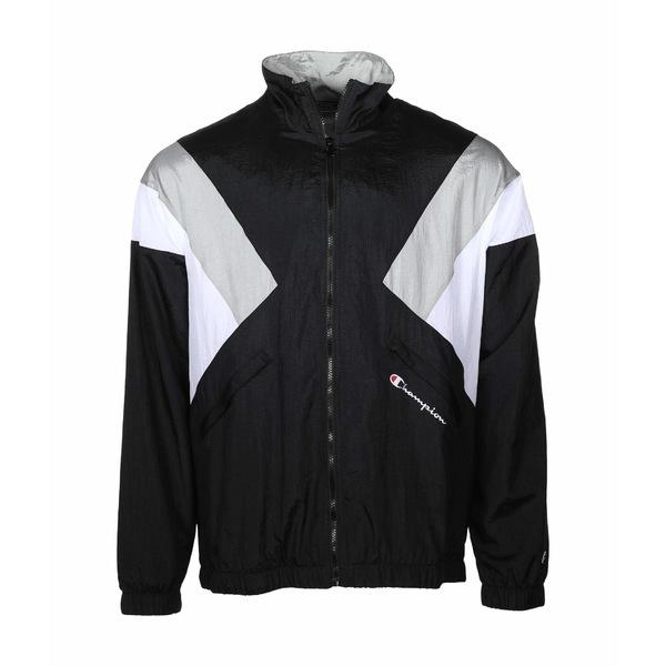 チャンピオン メンズ コート アウター Nylon Warm Up Jacket Black/Silverstone/White