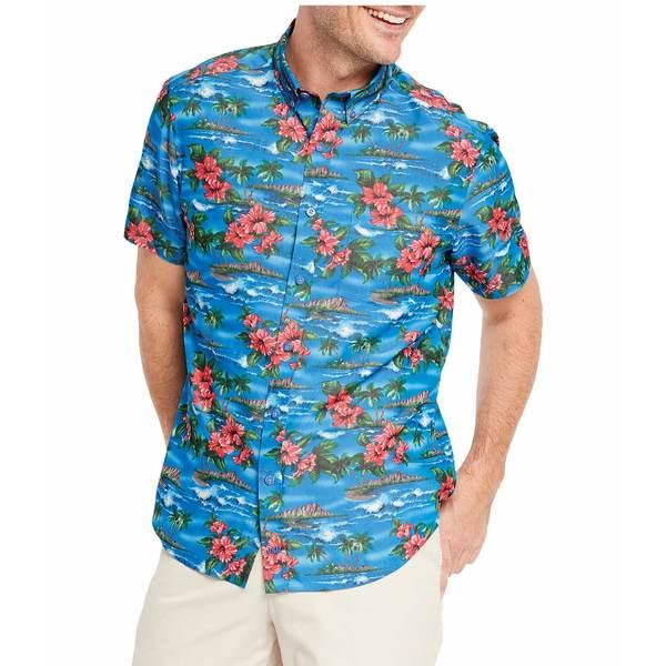ジョンストンアンドマーフィー メンズ シャツ トップス Short Sleeve Hibiscus Island Print Blue