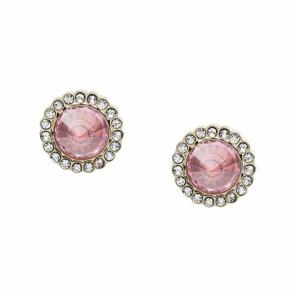 フォッシル レディース ピアス&イヤリング アクセサリー Power of Crystals Stainless Steel Stud Earrings Pink