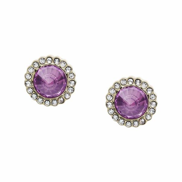 フォッシル レディース ピアス&イヤリング アクセサリー Power of Crystals Stainless Steel Stud Earrings Purple